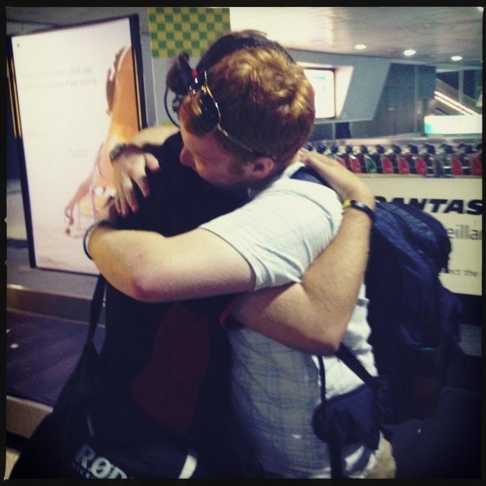Hugs goodbye for Frankie